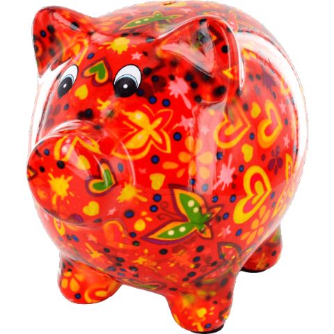 Pixie The Pig Red Hearts and Butterflies Ceramic Money Box